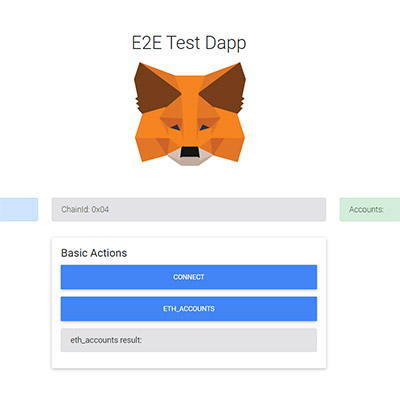 Image of the MeataMask Test Dapp page